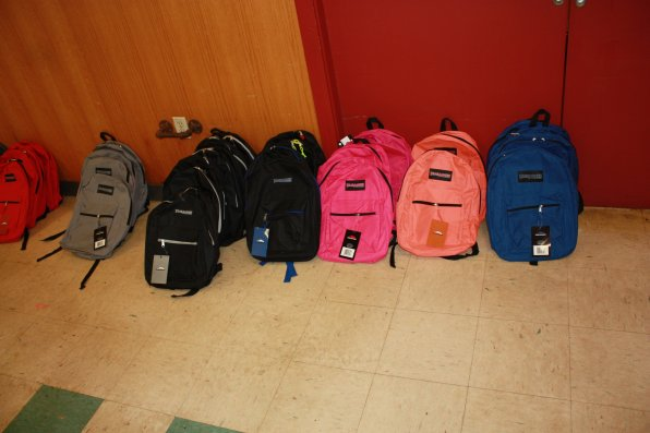 Some of the backpacks that had yet to be picked up shortly after the doors opened.