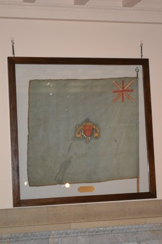 The stains alone prove just how old this flag is, but just to be sure, the N.H. Historical Society has put its stamp of approval on this hand painted silk creation.