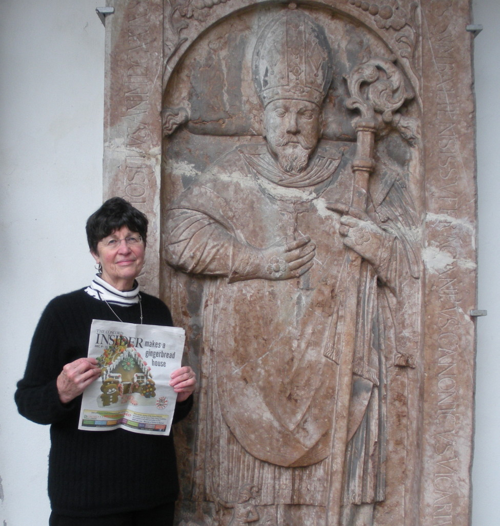 Here we have Maralyn Doyle with the 'Insider' at Regensburg Cathedral in Germany during a trip last December. We've obviously been moving as slow as that stone bishop guy since it took us four months to throw the picture in the paper. Also, pretty sure he's napping.