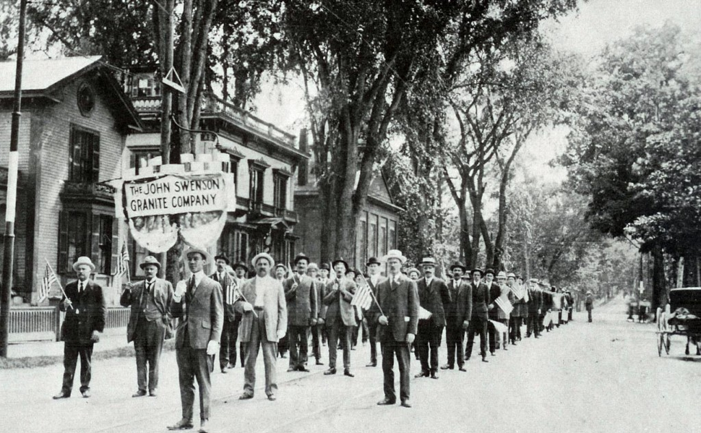 Reader Earl Burroughs sent us this classic photo, which depicts employees of the John Swenson Granite Company lining up for a parade (led by Swenson himself) way back in 1915. This photo rocks!