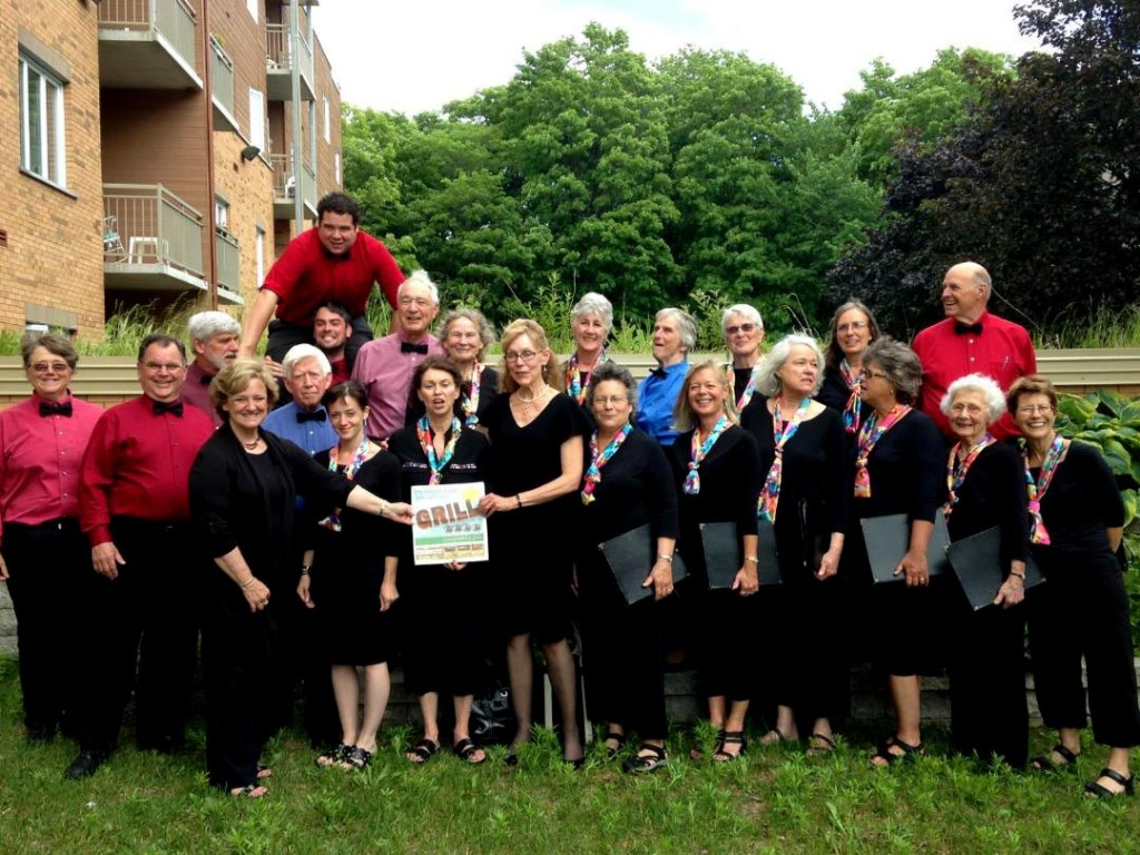 The Pemigewassett Choral Society, led by director Leslie McDonnell and assistant director Will Gunn and accompanied by pianist Catharine Dornin, gave a concert tour recently in Quebec City, Quebec. They gave a recital at the Museum of Civilization several hours before a show across the street by the renowned and high-flying Cirque du Soleil circus. Above, the musicians send a message home to readers of the Concord Insider after performing at the Saint Brigid's nursing home.