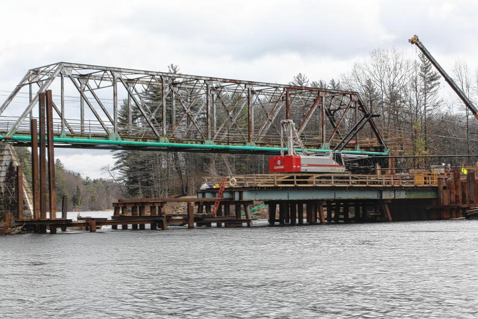 The temporary work platform next to the bridge is almost done, City Engineer Ed Roberge said. (JON BODELL / Insider staff) -