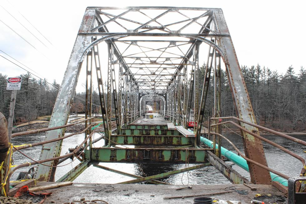 The current view of the Sewalls Falls Bridge from the north side, aka the Monitor/Insider side. Watch your step! That first one's a doozy. (JON BODELL / Insider staff) -
