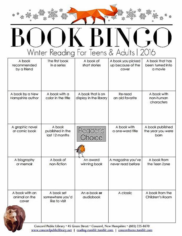 Here's what the Book Bingo card looks like. Head into the library to get a real one, though. (Courtesy of the Concord Public Library) -