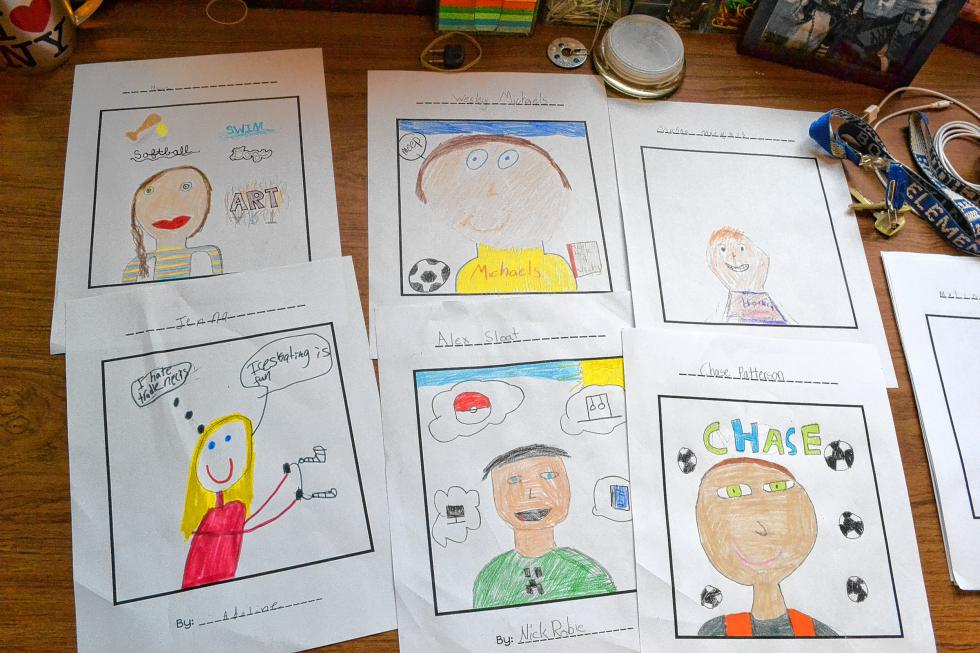 A sampling of the portraits that Jess Allison's fourth-grade class at Bow Elementary School drew for their Valentine's Day project. (TIM GOODWIN / Insider staff) -