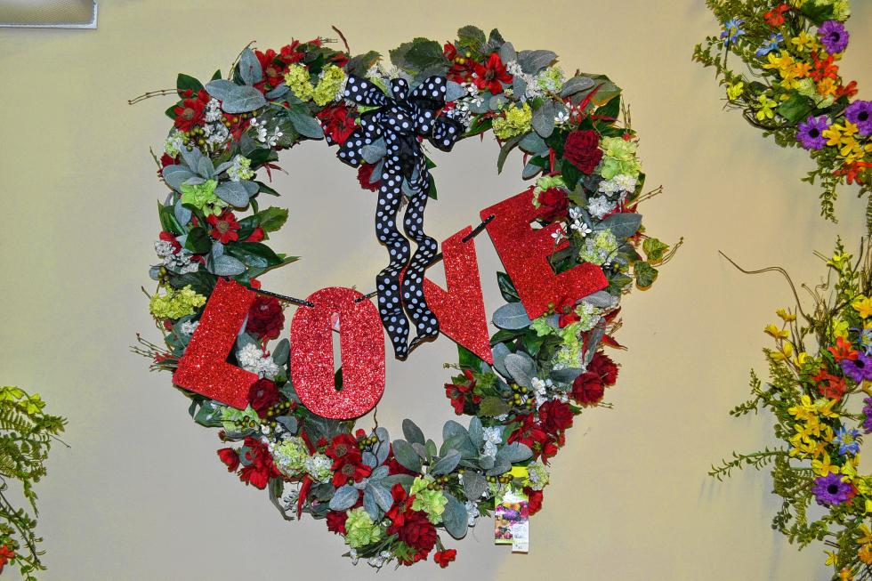 Love is in the air this time of year and apparently on wreaths as well. (TIM GOODWIN / Insider staff) -