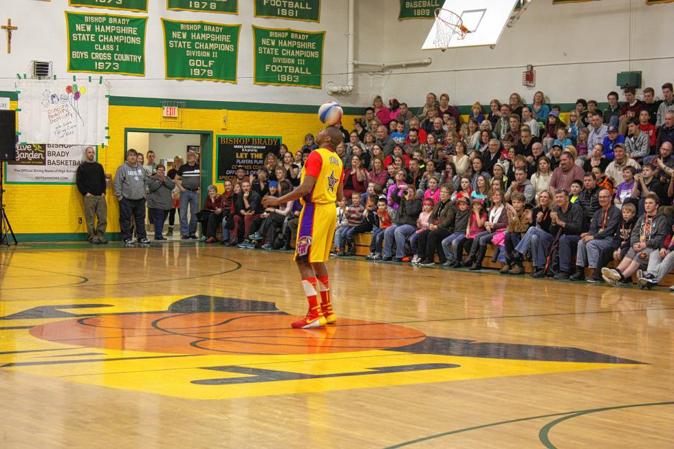 Swoop balances a spinning ball on his head. (JON BODELL / Insider staff) -