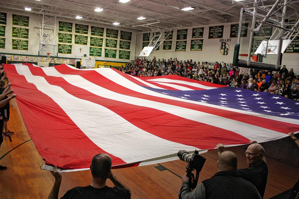 The 80-by-40-foot American flag was a wonder to behold. (JON BODELL / Insider staff) -