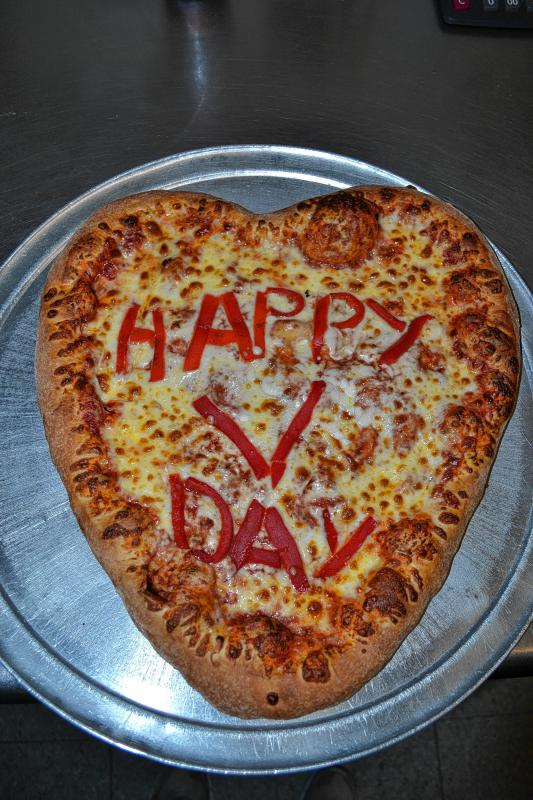This bad boy was a special order, made just for us. The Constantly Pizza crew can spell out messages on your heart-shaped pizza, but it's a little tricky, so don't go too crazy with your requests. (TIM GOODWIN / Insider staff) -