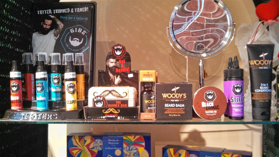 For the grizzly man in your life: Beard products aplenty. There's all kinds of creams and waxes for beards at Lotions n Potions. (JON BODELL / Insider staff) -