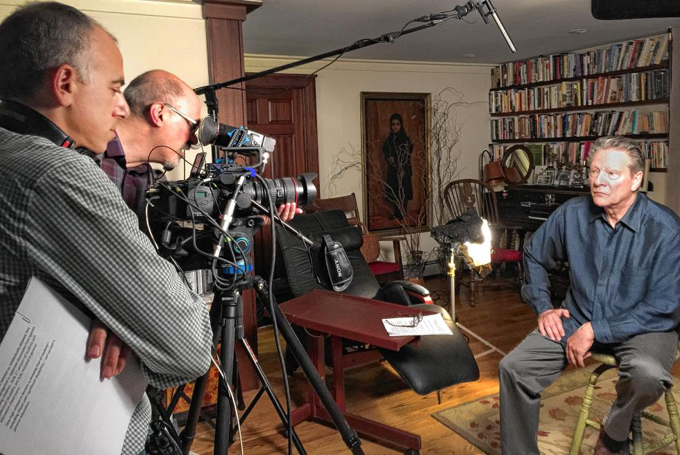 Academy Award winning actor Chris Cooper (right) records narration for the new documentary film Intelligent Lives (working title), directed by Dan Habib of the UNH Institute on Disability (left).  Cameraman Steven Ascher is at center. - Melanie McLaughlin |