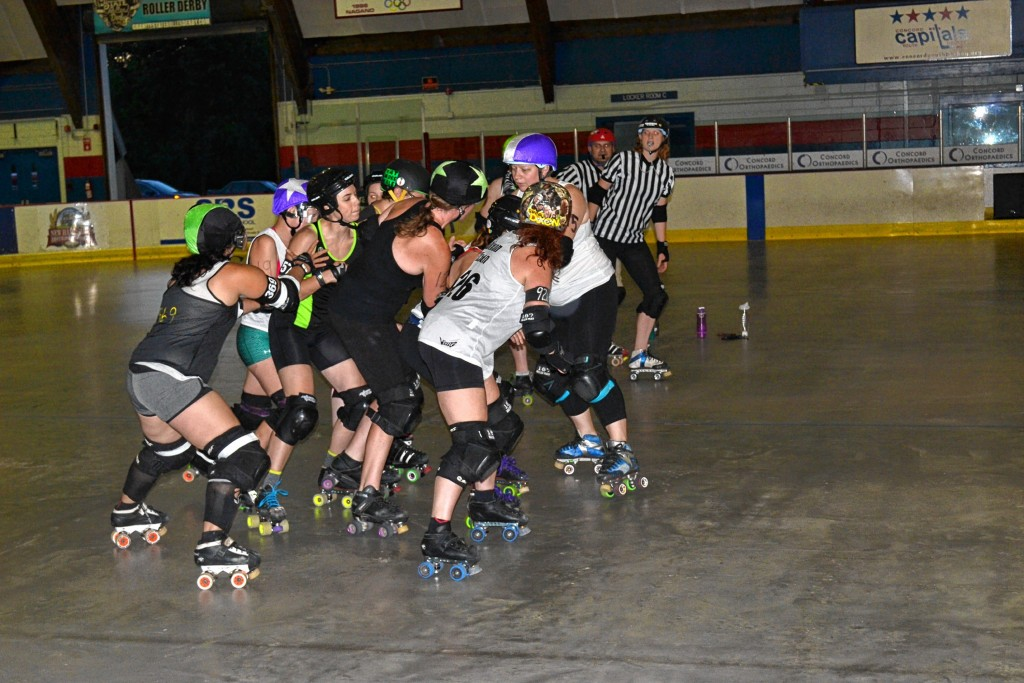 Tim Goodwin—Insider staffThe Demolition Dames and Fighting Finches, the two Granite State Roller Derby home teams, will square off in the second of four bouts on Saturday at Everett Arena at 5 p.m.