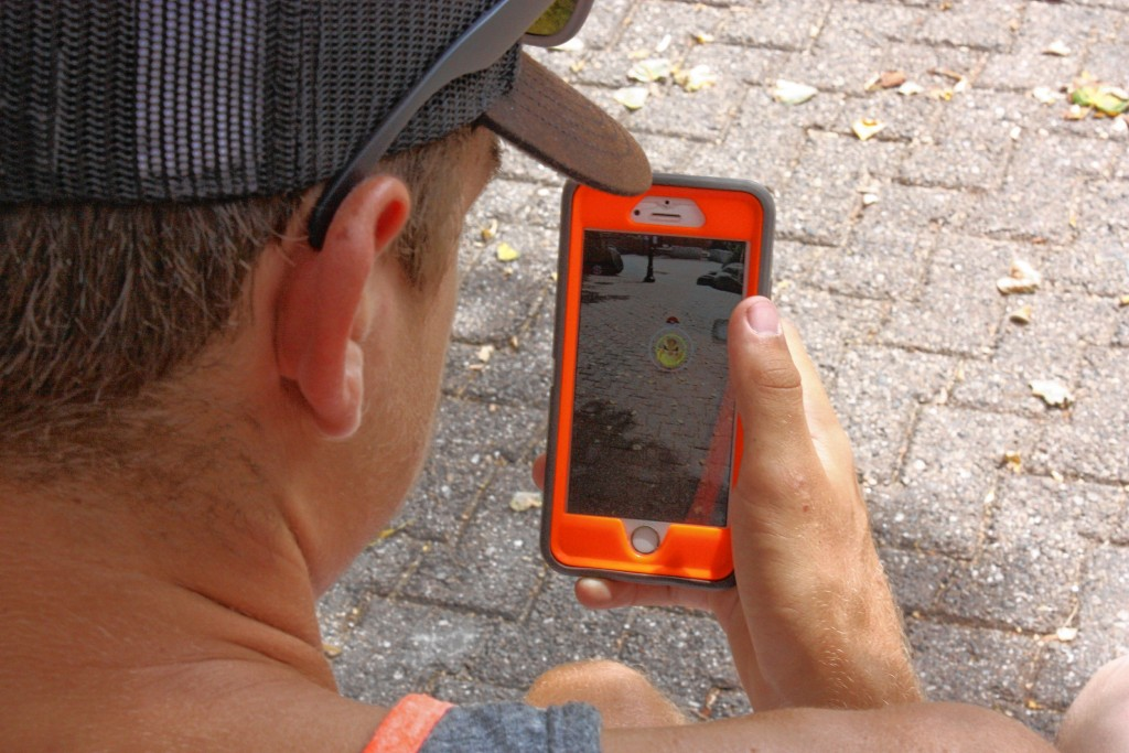JON BODELL / Insider staff—Sal Rinaldi and Dom Manning, both 16 and from Concord, spent a good chunk of last Thursday afternoon hunting for Pokemon in Bicentennial Square.