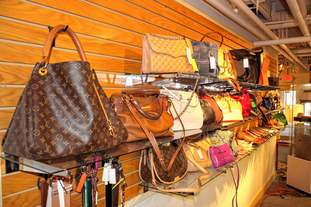 JON BODELL / Insider staff—When we walked in, we were told that we were in the presence of four Louis Vuitton handbags. Apparently this is a big deal? And these things are the real McCoy -- owner Elyssa Alfieri can spot a fake from a mile away.