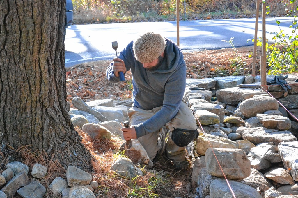 Check out this stone wall being built by Matt Persechino and Nate Vance of Contoocook Stone Works on Hopkinton Road.
