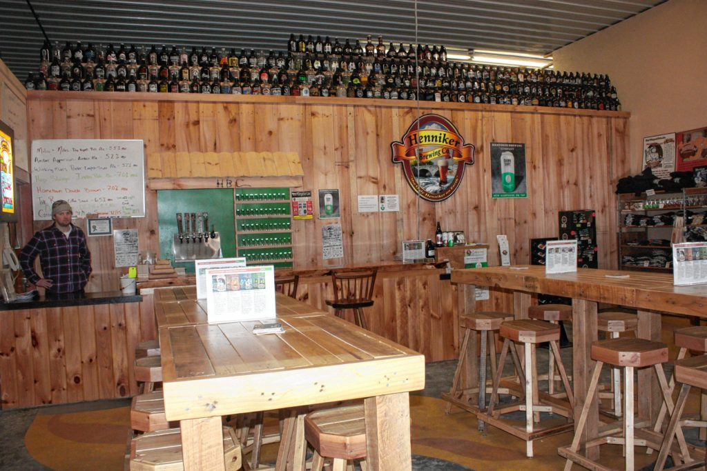 The tasting room at Henniker Brewing Co. has a cool, open, rustic feel to it.