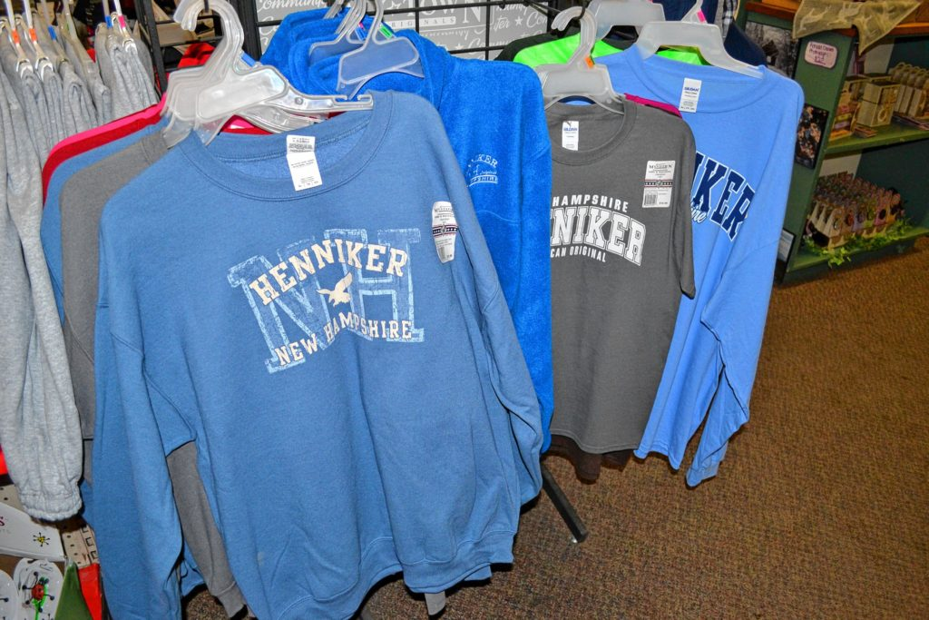 Just look at all the Henniker swag you can buy at the Henniker Pharmacy. It's just one of the many ways to commemorate your trip.
