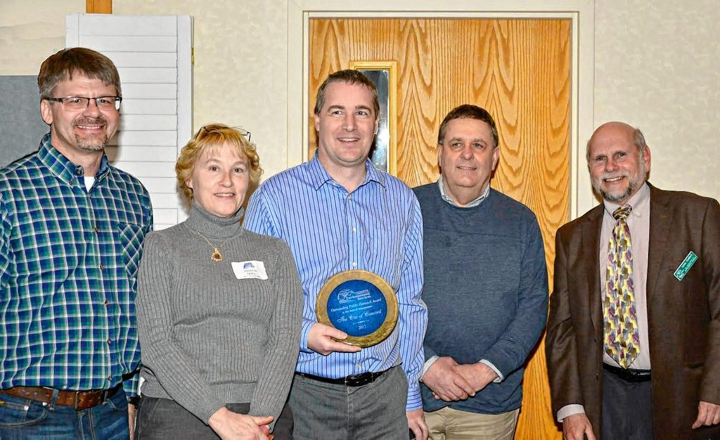 The New Hampshire Department of Environmental Services has awarded Concord General Services' Wastewater Treatment Division with the 2017 Outstanding Public Outreach Award. The award recognizes efforts to educate the public about wastewater. The Wastewater Treatment Division has demonstrated public outreach through facility tours, brochures, website updates, social media, news releases and participation at community events. Additional promotional efforts have increased attention to wastewater operations, water quality and benefits of biosolids. Learn more about Concord's wastewater treatment and resource recovery by visiting concordnh.gov/wastewater.