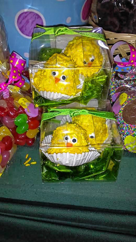 Chocolate truffles disguised as baby chicks at Caring Gifts.