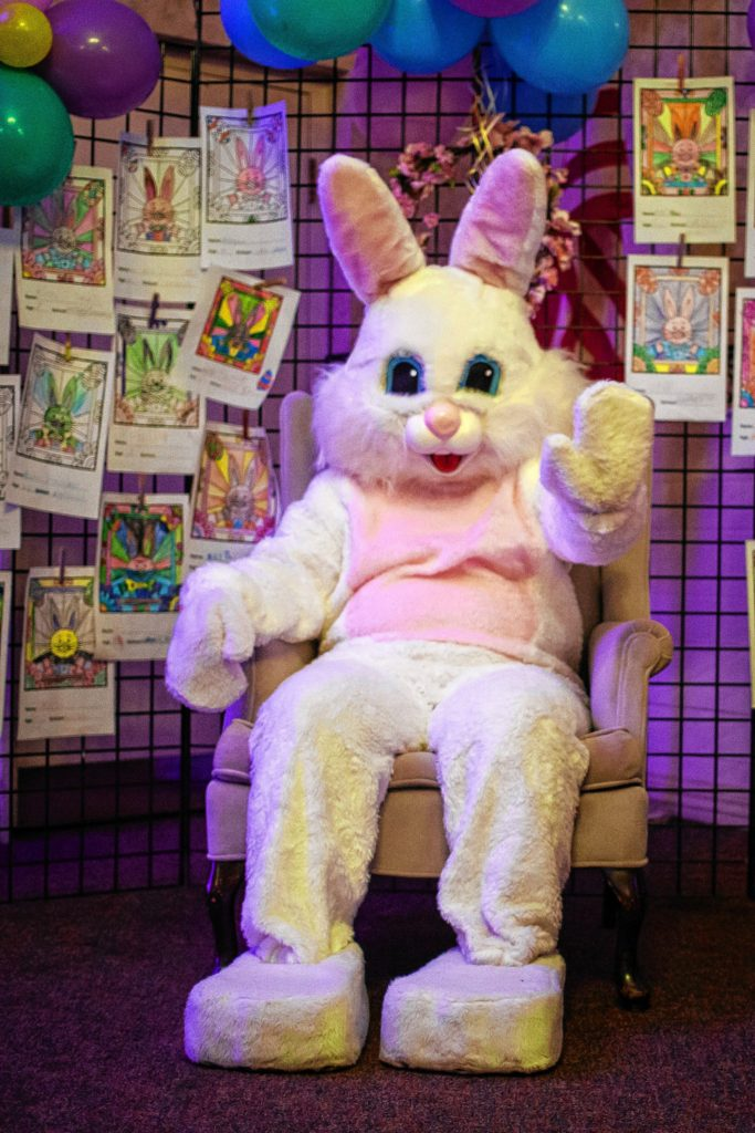 The Easter bunny waves to visitors during Eggstravaganza at the Bektash Shrine Center in Concord on Friday, April 7, 2017. The event continues on Saturday and Sunday. (ELIZABETH FRANTZ / Monitor staff)