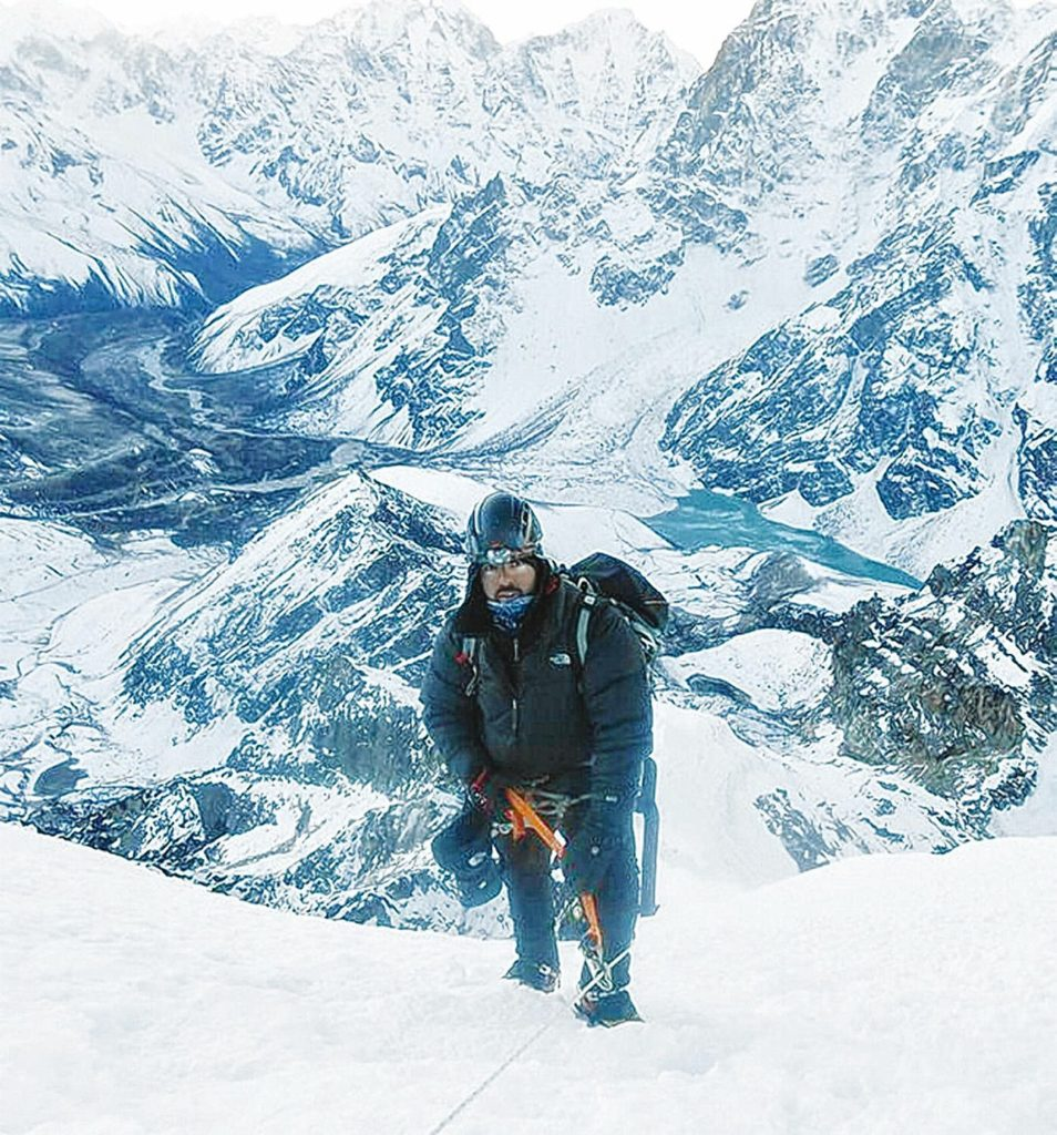 Former Bow police officer Jake St. Pierre climbs Mount Everest in 2014. St. Pierre will be the featured guest at NHTI's Wings of Knowledge event on April 25.