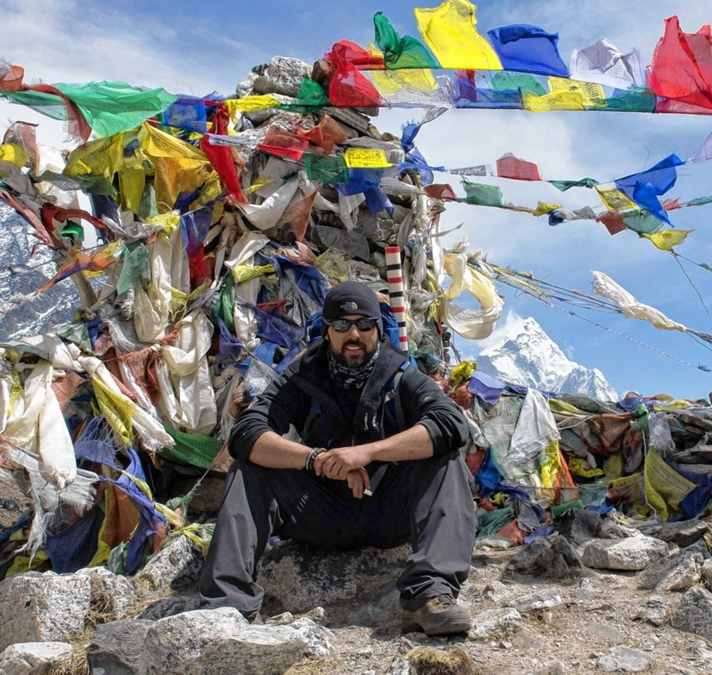 Former Bow police officer Jake St. Pierre climbs Mount Everest in 2014. St. Pierre will be the featured guest at NHTI's Wings of Knowledge event on April 25, where he will talk about his experiences on the world's highest peak. (Courtesy)