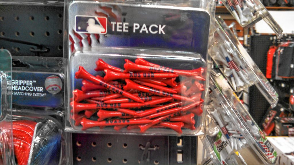 If we're going to be going golfing, we'll need some tees. We found this pack of Red Sox tees at Dick's Sporting Goods for a considerably cheaper price than the clubs. (JON BODELL / Insider staff)