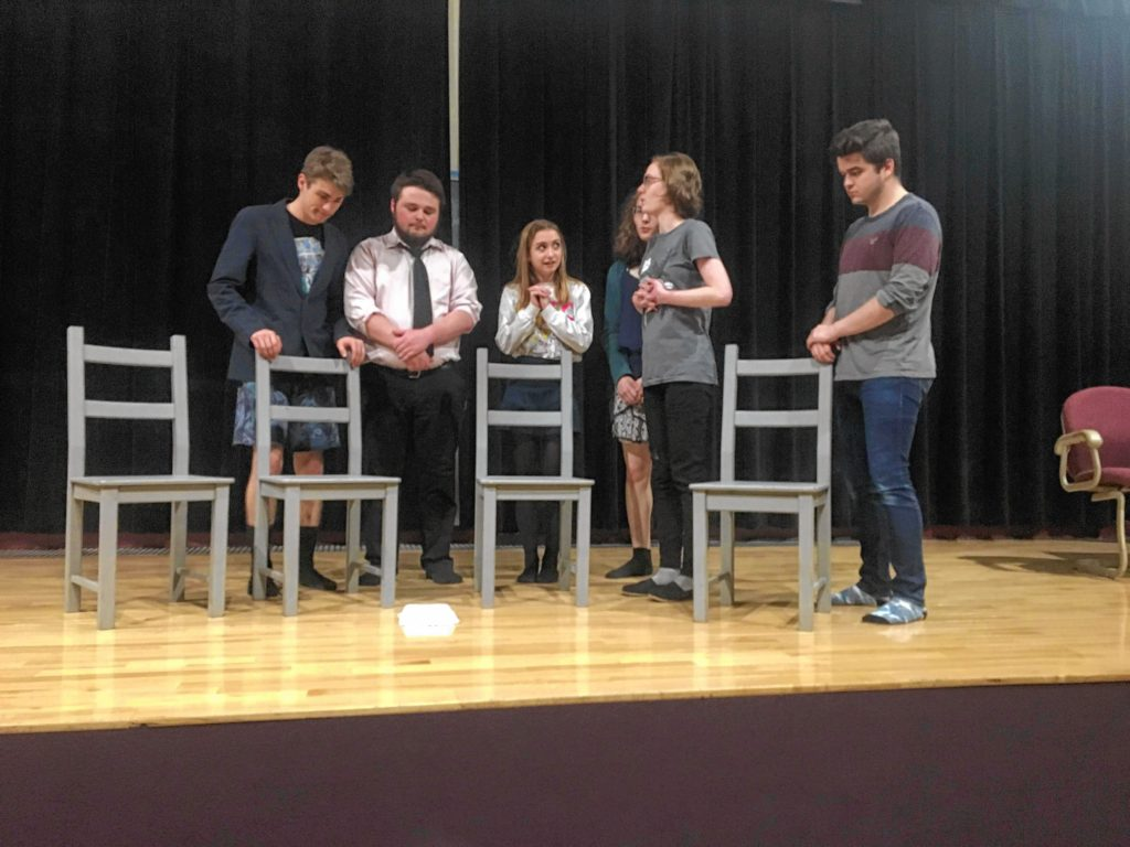 NHTI's Stage Lynx Productions will put on three performances of The Diary of Anne Frank this weekend in Sweeney Auditorium. Here, some of the cast goes through their lines last week.
