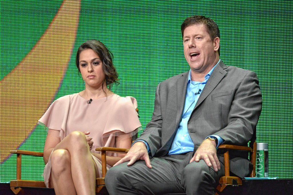 Kelen Coleman and comedian Jimmy Dunn appear on stage during the The McCarthys panel at the CBS 2014 Summer TCA  in Beverly Hills, Calif. Dunn will perform at NHTI on Friday.