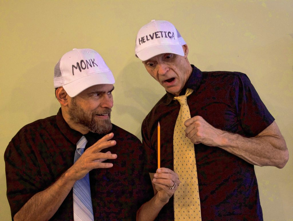 "Doug Schwarz (left) and Dave Peck as Bud and Doug play two of their many roles in ""Gutenberg! The Musical!"""
