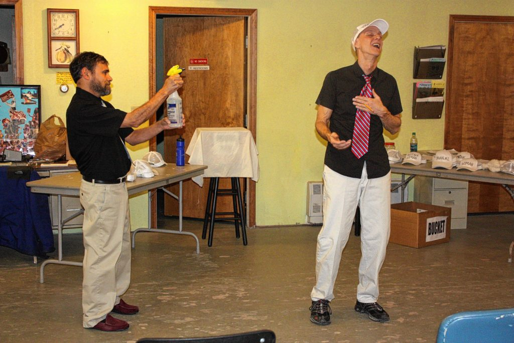 "Doug Schwarz (left) and Dave Peck rehearse a scene from ""Gutenberg! The Musical!"" at the Community Players of Concord studio last week."