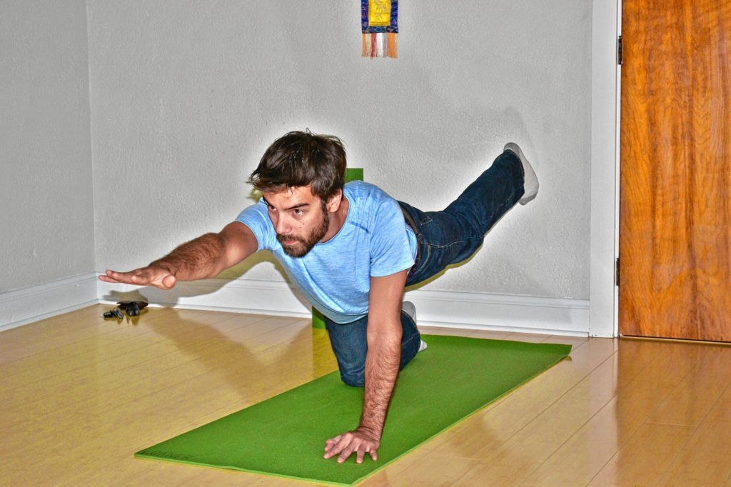 Jon gets in the zone at Sharing Yoga during his first-ever yoga session last week. Instructor Alison Murphy said he did a great job, so that has to count for something. TIM GOODWIN / Insider staff