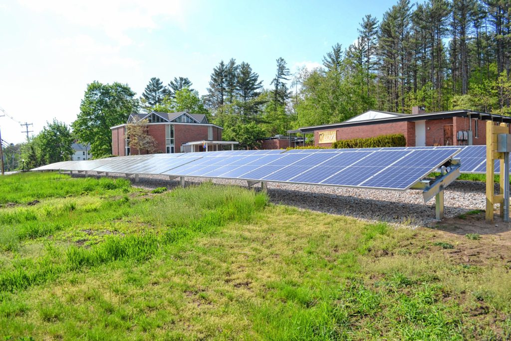 The solar panel array at the Unitarian Universalist Church on Pleasant Street is up and running. Tim Goodwin