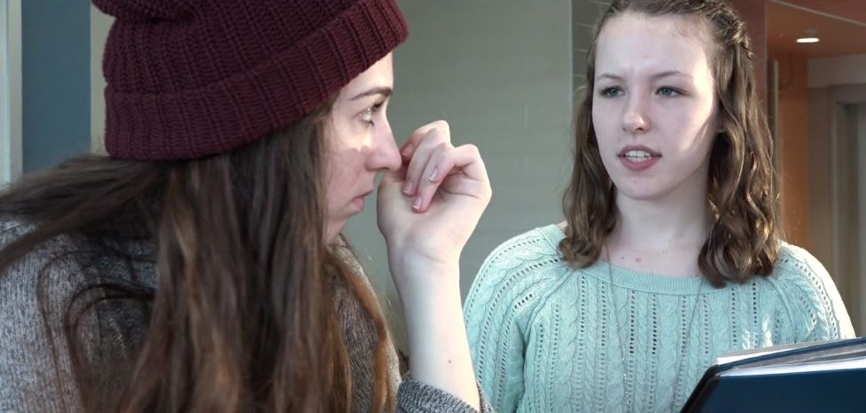 A scene from Bankrupt, a student film by Kaitlyn Wilson, Valerie Carino, Rheannon Rodriguez and Julianna Szweda of Salem High School, which will be shown at the New Hampshire High School Short Film Festival at Red River Theatres. Courtesy of Matthew Newton