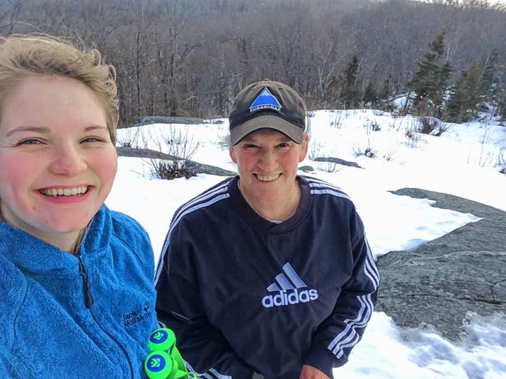 Belgian exchange student Clemence Castaigne with her host mom Lise Bofinger during a winter hike. Courtesy