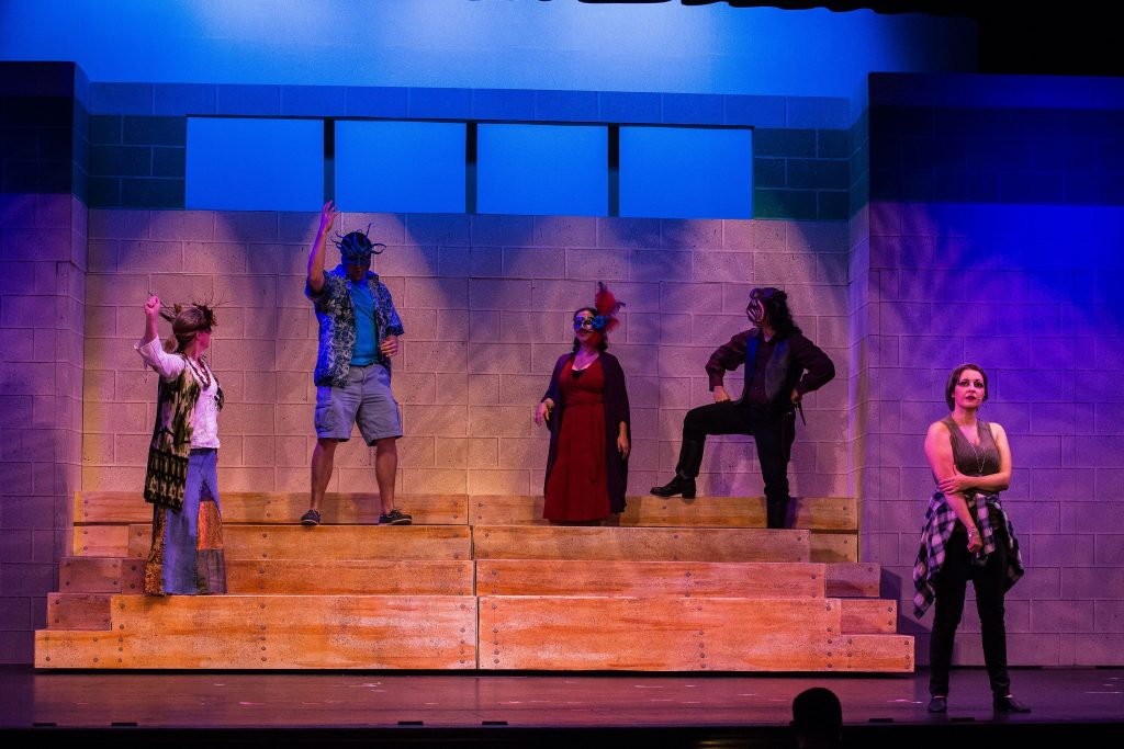 """The gods and Ti Moune, played by Sheree Owens (right) run through a dress rehearsal of """"Once On This Island,"""" a Community Players of Concord production, at Concord City Auditorium on Tuesday, Nov. 15, 2016. (ELIZABETH FRANTZ / Monitor staff) ELIZABETH FRANTZ"""