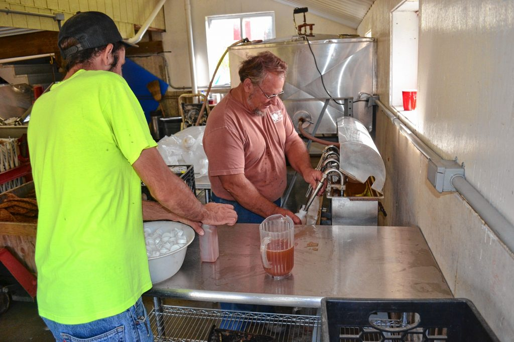 Chuck Souther of Apple Hill Farm bottles some of his unpasteurized apple cider. TIM GOODWIN / Insider staff
