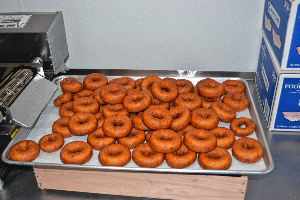 Apple cider doughnuts fresh out of the fryer. TIM GOODWIN / Insider staff