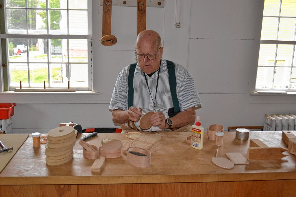 Ron Herman has been volunteering as a oval box maker volunteer for the last 13 years at Canterbury Shaker Village. Tim Goodwin / Insider staff