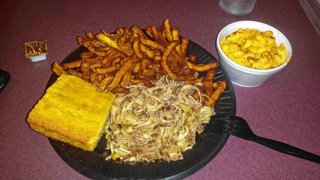 The pulled pork plate with homemade mac and cheese, cajun fries and cornbread from The Smoke Shack. Tim Goodwin / Insider staff