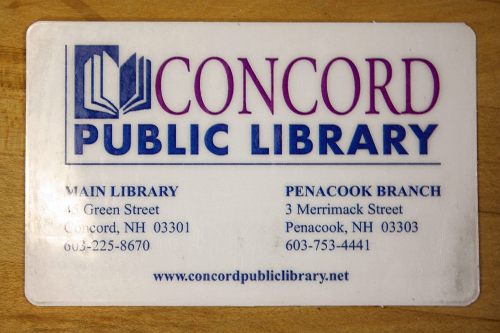 Here's what you get when you sign up for a Concord Public Library card. Look how fancy! JON BODELL