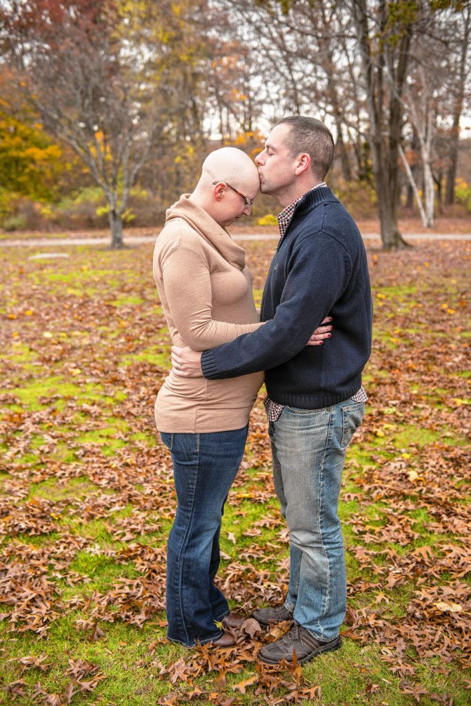 Catherine and Joel Detty during her pregnancy when she was diagnosed with breast cancer. Courtesy of Nancy Dion Photography