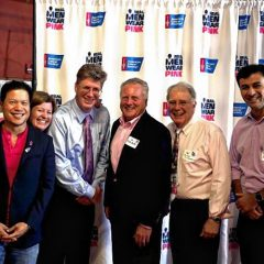 Making Strides:These guys are wearing pink to support the cause