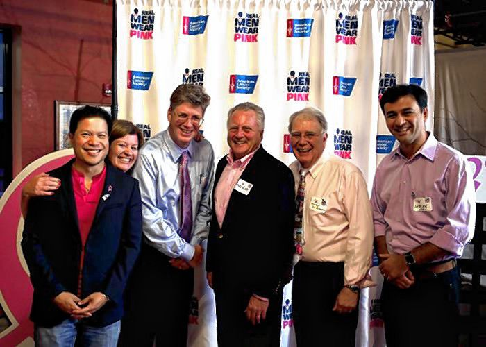 This year's Real Men Wear Pink. From left: Dr. Roger Achong, Kathi Russ, Bob Carey, Mike Violette, Michael St. Germain and Dr. Herlen Alencar. Missing from photo: Brian Lebrun, Richard Bean, Brenden Browne, Dr. Patrick Capozzi, Dr. Elliott Chiu and Scott Morris.  Courtesy