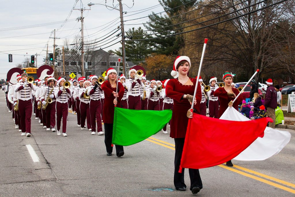 The Concord High School marching band and color guard walk in the annual Christmas parade on the Heights on Saturday, Nov. 22, 2014.  (ELIZABETH FRANTZ / Monitor staff) ELIZABETH FRANTZ