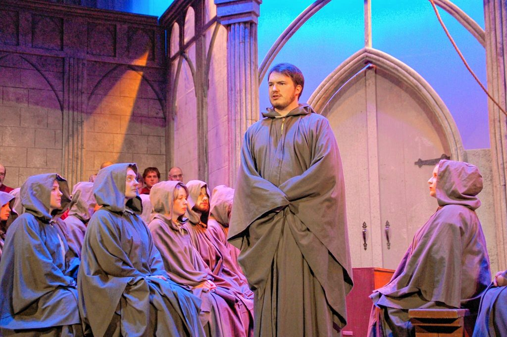 Jacob Stone portrays Archdeacon Claude Frollo, Paris's most powerful cleric, Quasimodo's uncle and reluctant caretaker during a recent dress rehearsal for the Community Players of Concord's performance of the Hunchback of Notre Dame. Courtesy