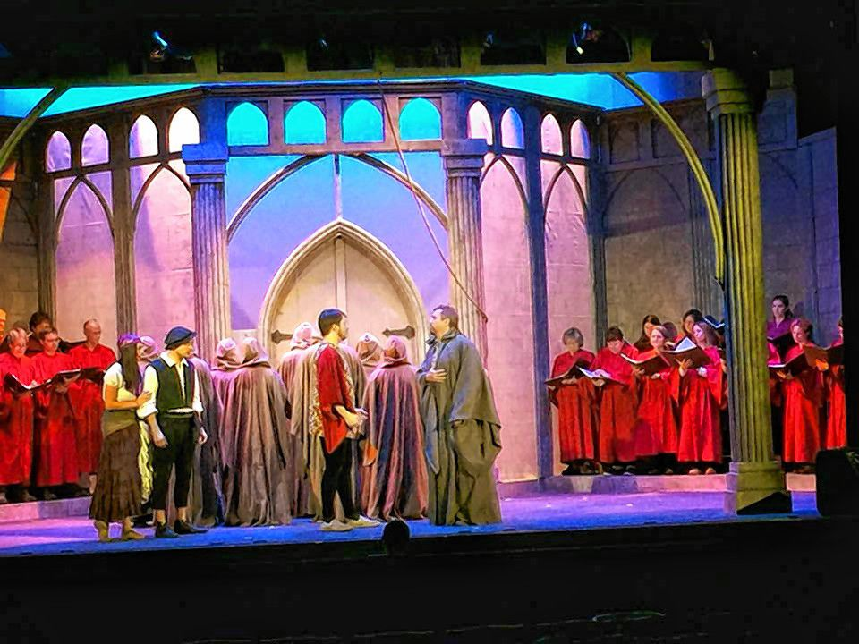 The cast and choir go through a seen during a recent rehearsal for the Community Players of Concord's performance of The Hunchback of Notre Dame. Courtesy