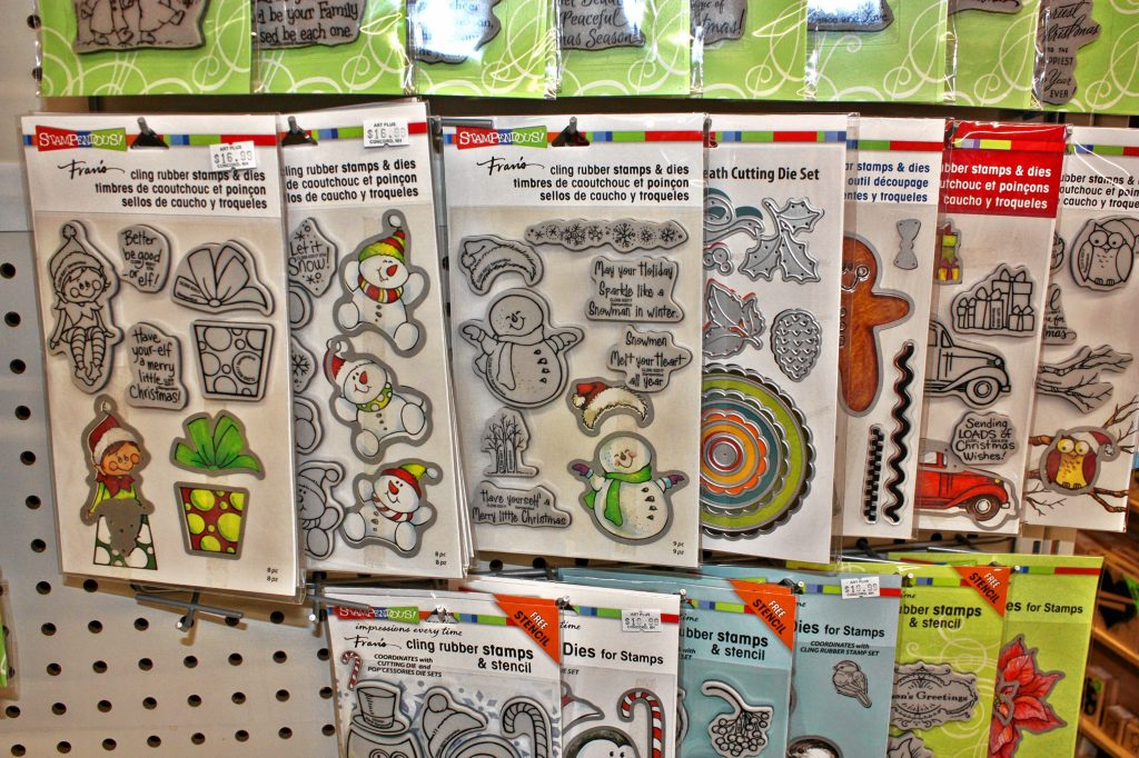 There are dozens of options for holiday-themed stamps at Art Plus that you can use to make your own Christmas cards. JON BODELL / Insider staff