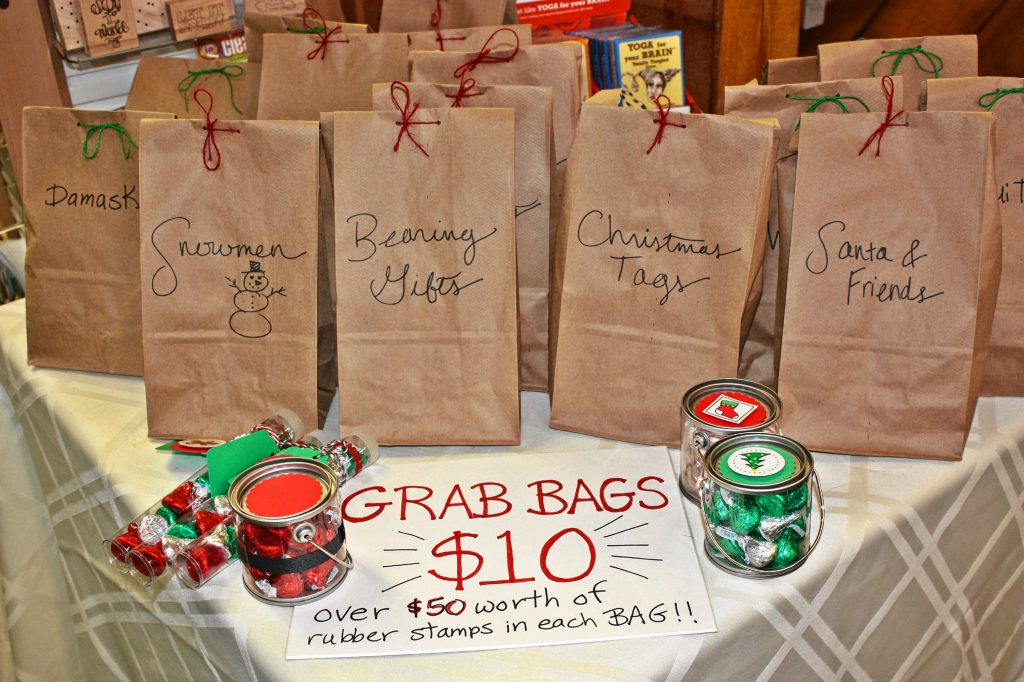 Those who love a surprise should get a kick out of these mystery grab bags at Art Plus. Each paper bag contains $50 worth of stamps (mostly Christmas ones) for just 10 bucks, but you don't know what's inside until you buy it. Alongside the bags you'll notice some little jars of candy, which are also for sale.  JON BODELL / Insider staff
