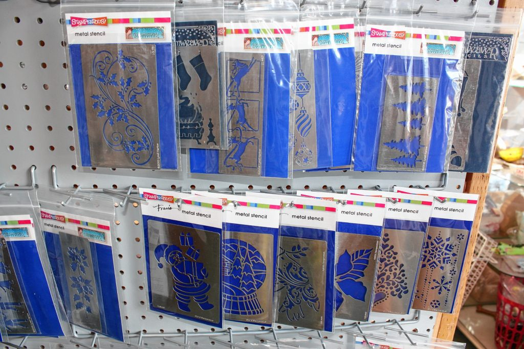 There are all kinds of Christmas-themed metal stencils at Art Plus that you can use to spice up a Christmas card, decorate your own gift bag or just trace some designs on paper to hang on the fridge.  JON BODELL / Insider staff